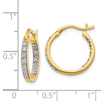 14k Diamond In/Out Hoop Earrings