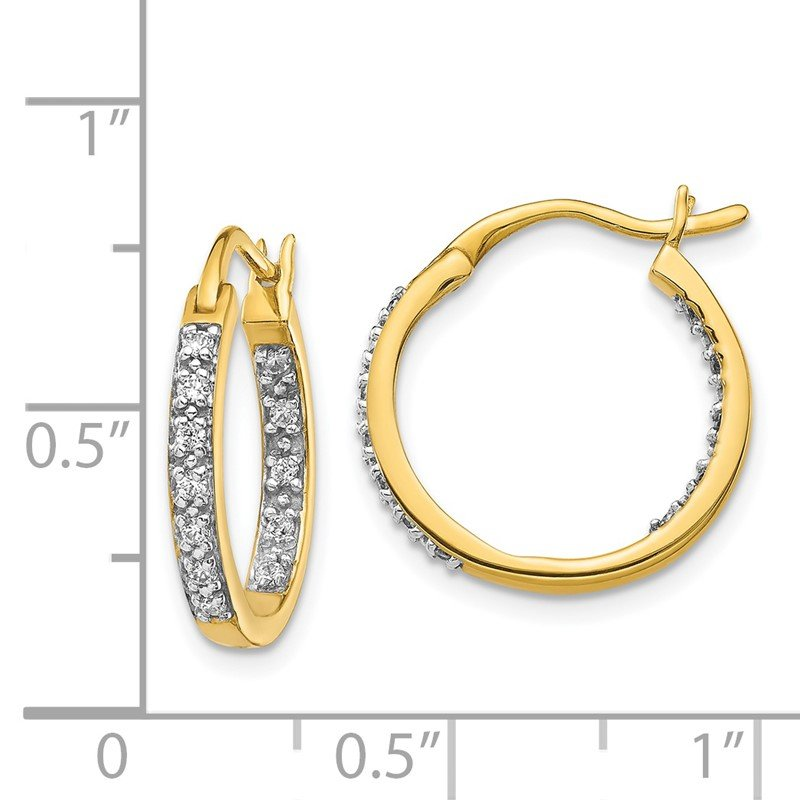 Quality Gold 14k Diamond In/Out Hoop Earrings