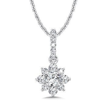 Floral Diamond Pendant with Diamond Bale in 14K White Gold (1/3ct. tw.)