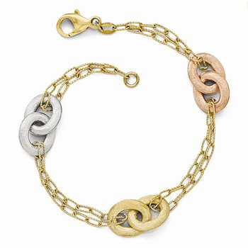 Leslie's 14k Tri-color Textured Diamond-cut Bracelet