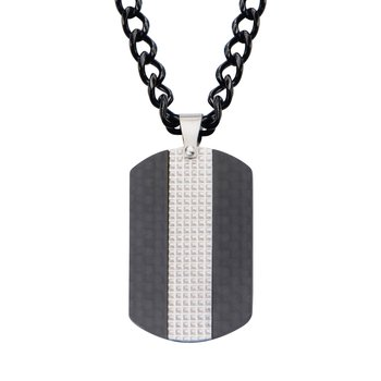 Black Plated in Solid Carbon Fiber Dog Tag Pendant with Chain