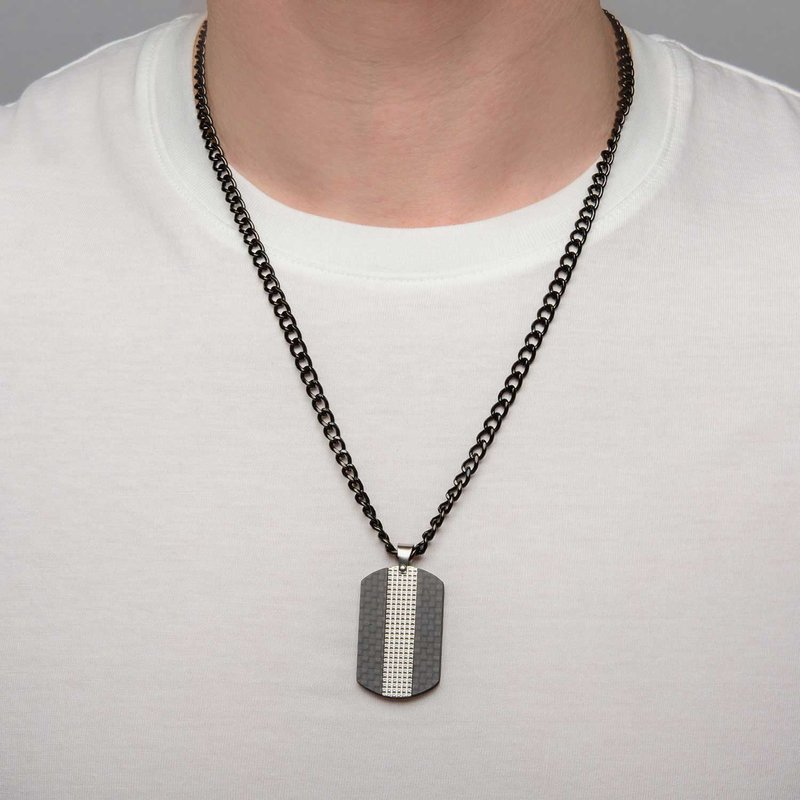 INOX Black Plated in Solid Carbon Fiber Dog Tag Pendant with Chain ...