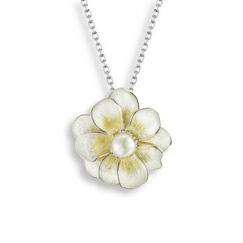 Yellow Camellia Necklace.Sterling Silver-Freshwater Pearl