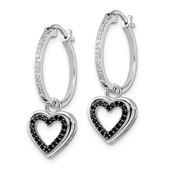Sterling Silver Rhod Plated Black & White Diamond Earring