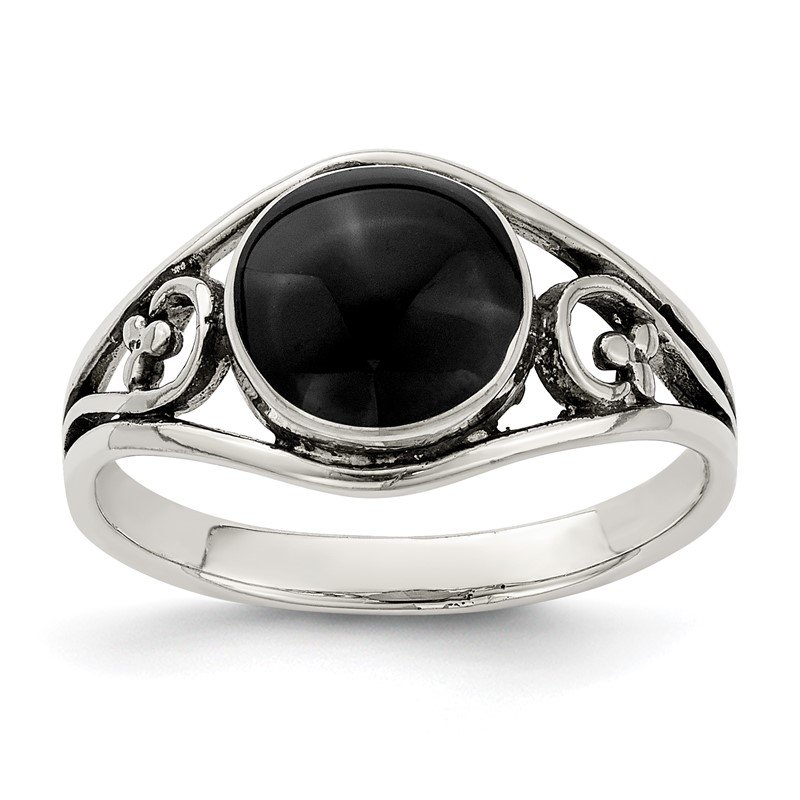 Quality Gold Sterling Silver Antiqued Black Agate Ring