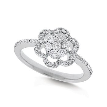Diamond Floral Ring in 14k White Gold with 47 Diamonds weighing .35ct tw.