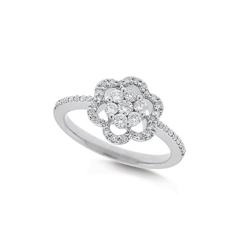 KC Designs Diamond Floral Ring in 14k White Gold with 47 Diamonds weighing .35ct tw.