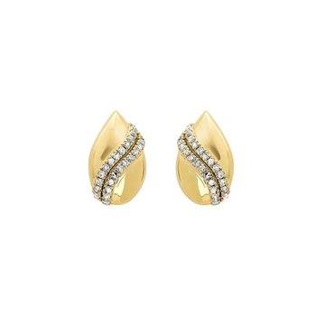 Diamond Teardrop Shell Earrings in Gold (1/7ctw)