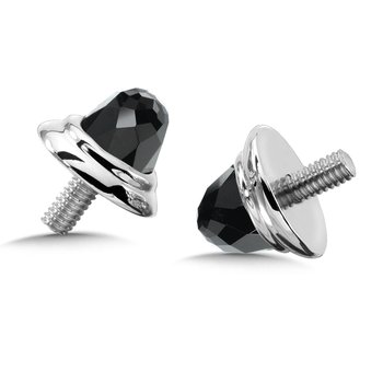 Sterling Silver Onyx Caps (pair)