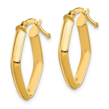 14K Small 2.5x2mm Knife Edge Pointed Oval Hoop Earrings