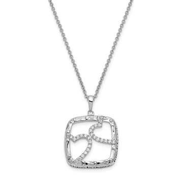 Sterling Silver Antiqued CZ Sisters By Chance 18in Hearts Necklace