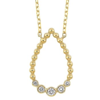 Diamond Teardrop Bead-Ball Pendant Necklace in 14k Yellow Gold (⅛ ctw)