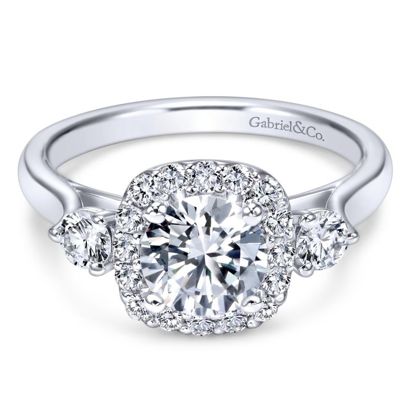 Gabriel Bridal 14K White Gold Round Three Stone Halo Diamond Engagement Ring