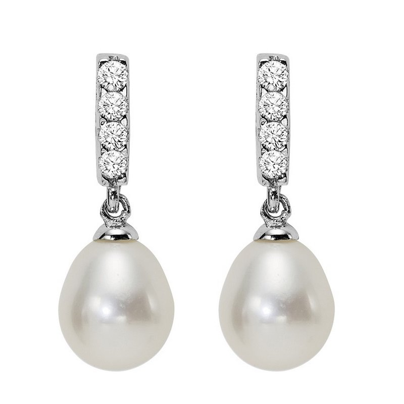 Gemsone Silver Fresh Water Pearls Earrings