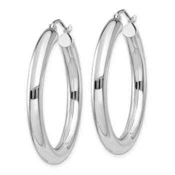 10K White Gold Polished 4mm Tube Hoop Earrings