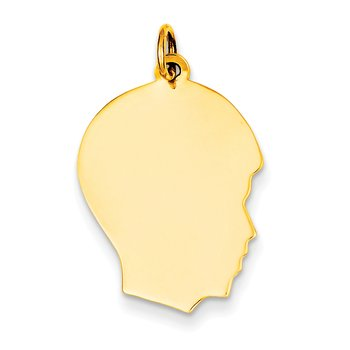 14k Plain Medium .035 Gauge Facing Right Engravable Boy Head Charm