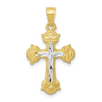 10K w/ Rhodium Diamond-Cut Cross Pendant