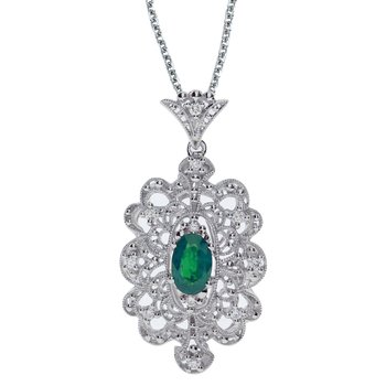 14k White Gold Emerald and .10 ct Diamond Pendant