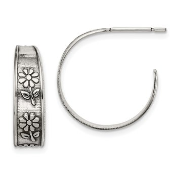 Sterling Silver Antiqued Flower Hoop Earrings