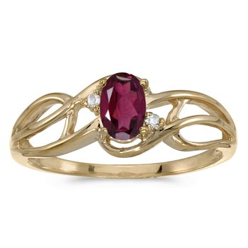 10k Yellow Gold Oval Rhodolite Garnet And Diamond Curve Ring