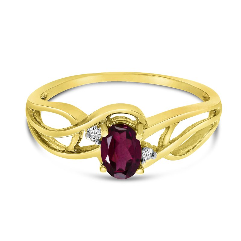 Color Merchants 10k Yellow Gold Oval Rhodolite Garnet And Diamond Curve Ring