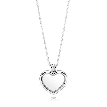 PANDORA Floating Heart Locket, Sapphire Crystal Glass & Clear CZ