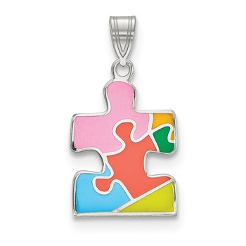 Sterling Silver Rhod-plated Enameled Autism Puzzle Piece Pendant