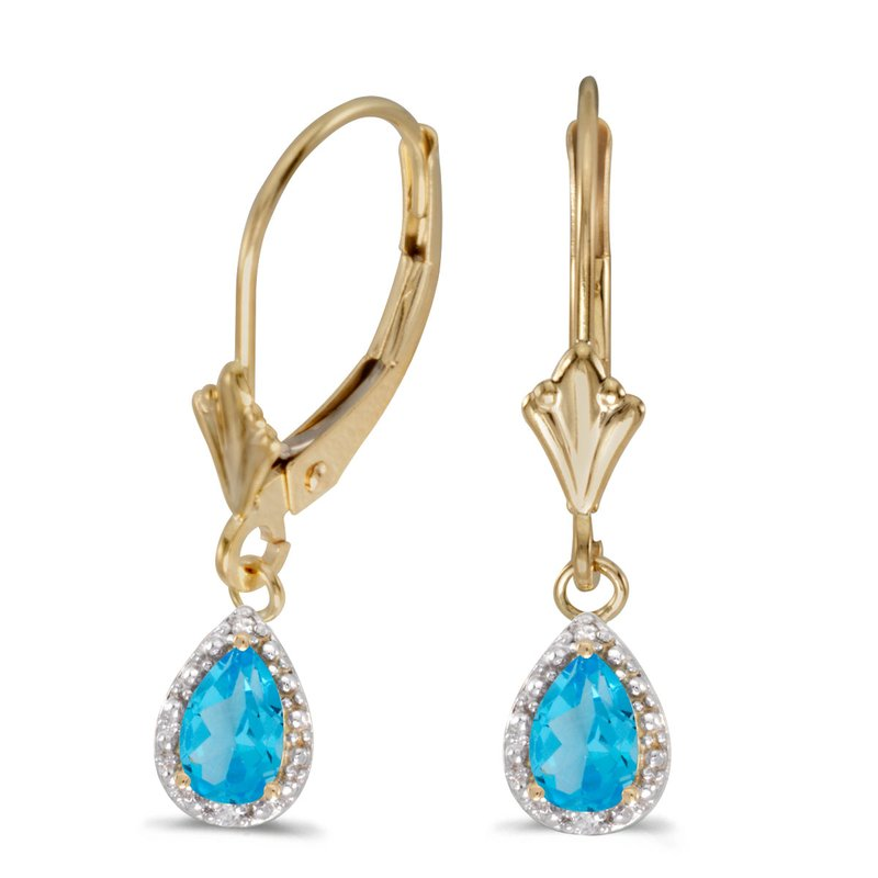 Color Merchants 14k Yellow Gold Pear Blue Topaz And Diamond Leverback Earrings