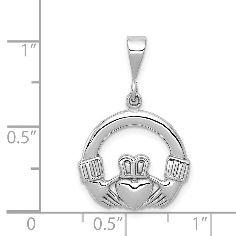 Quality Gold 14k White Gold Claddagh Charm