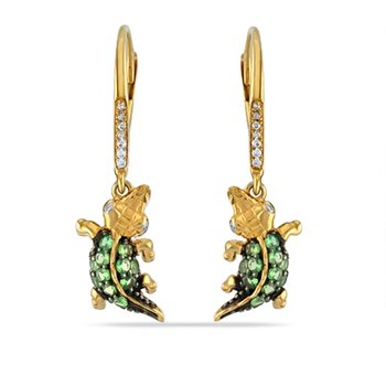"14K fun alligator Earrings 0.07C Diamonds & 0.37C Green Garnet 1/2"" long by 1/4: wide"