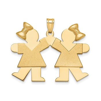 14k Solid Engravable Large Double Girls with Bows Charm