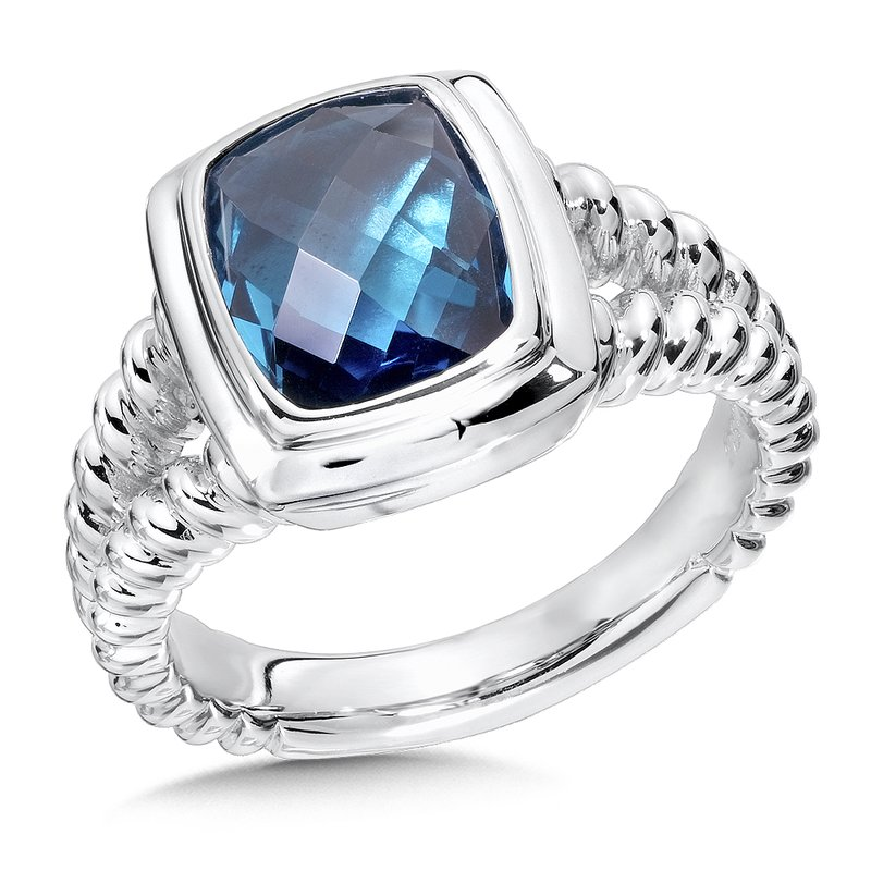 Sterling Silver London Blue Topaz Essentials Split Shank Ring
