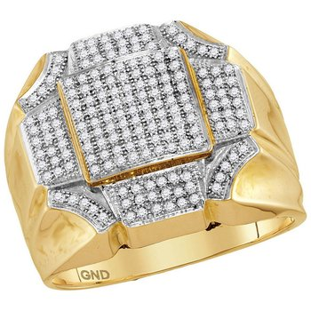 10kt Yellow Gold Mens Round Diamond Octagon Concave Corner Cluster Ring 1/2 Cttw