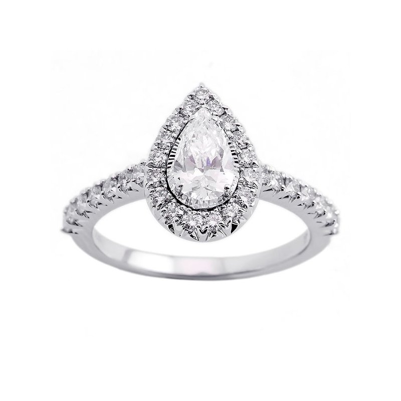 Gems One Pear Shape Starburst Halo Diamond Engagement Ring in 14k White Gold (1ctw)