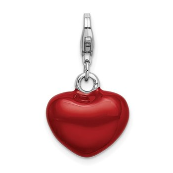 Sterling Silver RH 3-D Red Enameled Heart w/Lobster Clasp Charm