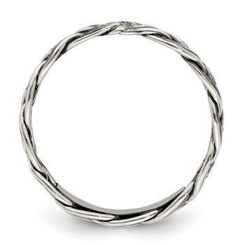 Sterling Silver Polished Weave 3.5mm Women's Ring