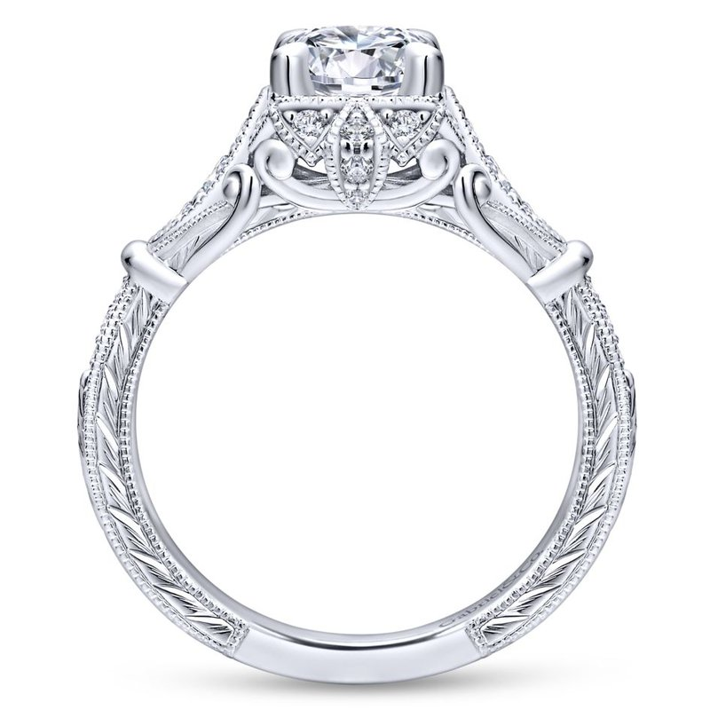 Gabriel Bridal Unique 14K White Gold Vintage Halo Engagement Ring
