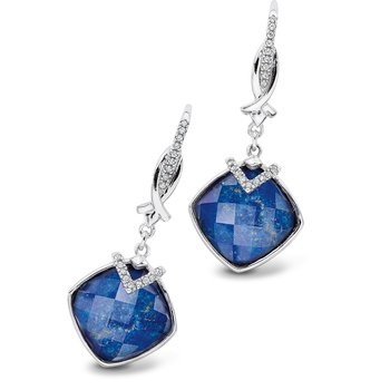 Sterling silver, lapis fusion and diamond earrings