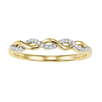10K Yellow Gold Mixable Ring 1/20 ctw