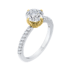 Carizza 14K Two-Tone Gold Round Diamond Floral Engagement Ring (Semi-Mount)