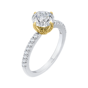 14K Two-Tone Gold Round Diamond Floral Engagement Ring (Semi-Mount)