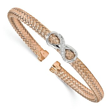 Leslie's Sterling Silver Rose Gold-plated CZ Infinity Cuff Bangle