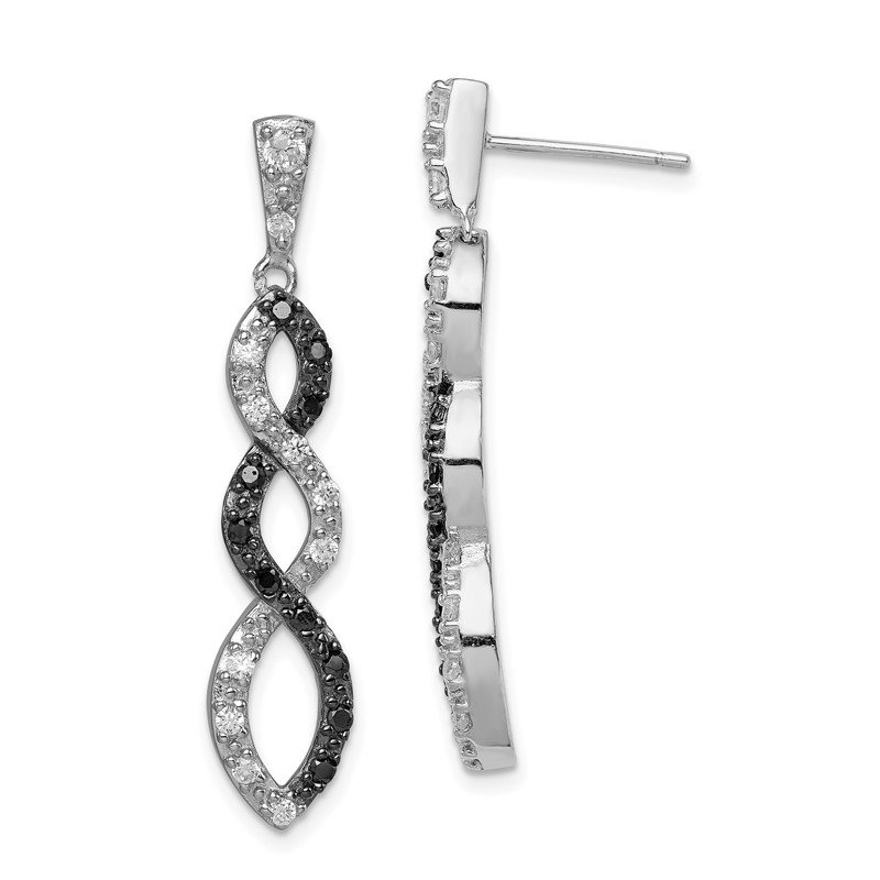 Quality Gold Sterling Silver Black Rhodium Black and White CZ Twisted Post Earrings