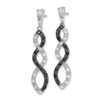 Sterling Silver Black Rhodium Black and White CZ Twisted Post Earrings