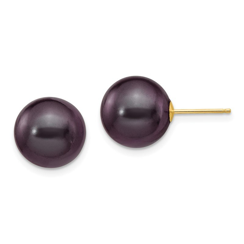 Quality Gold 14k 10-11mm Black Round Freshwater Cultured Pearl Stud Post Earrings