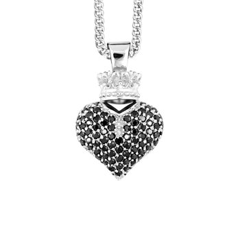 Large 3D Crowned Heart Pendant - Silver And Black Cz Pave Cps13122 On 18' Curb Link Chain