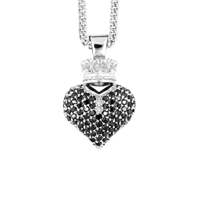 King Baby Large 3D Crowned Heart Pendant - Silver And Black Cz Pave Cps13122 On 18' Curb Link Chain