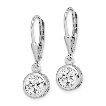 Sterling Silver Rhodium-plated 7mm CZ Leverback Earrings