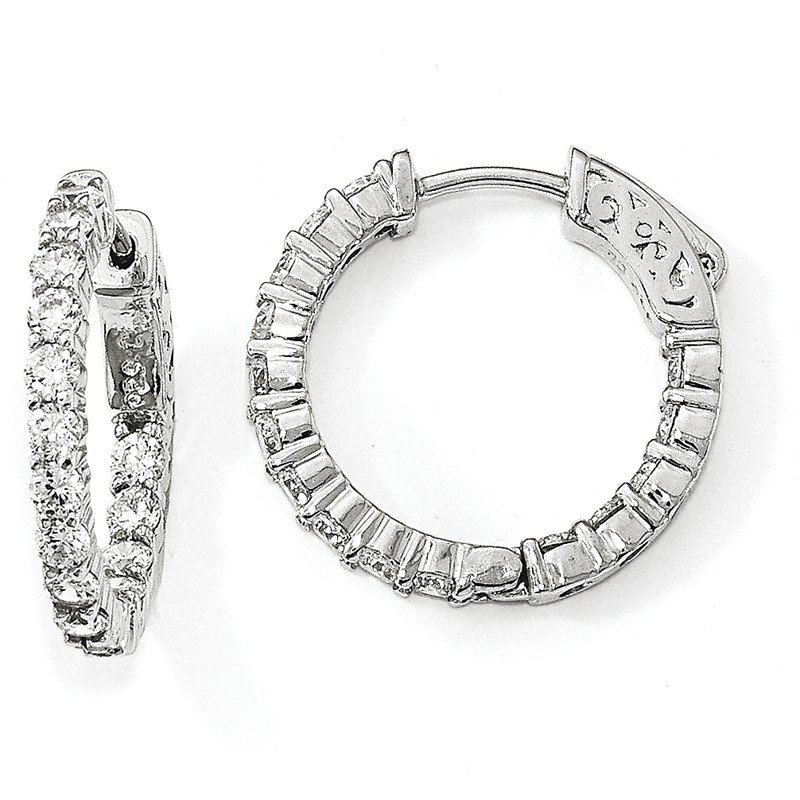 Lester Martin Online Collection Sterling Silver Rhodium-plated CZ In & Out Hoop Earrings