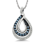 SDC Creations Pave set Blue and White Diamond Entwined Pendant 10k White Gold  (1/4 ct. tw.)